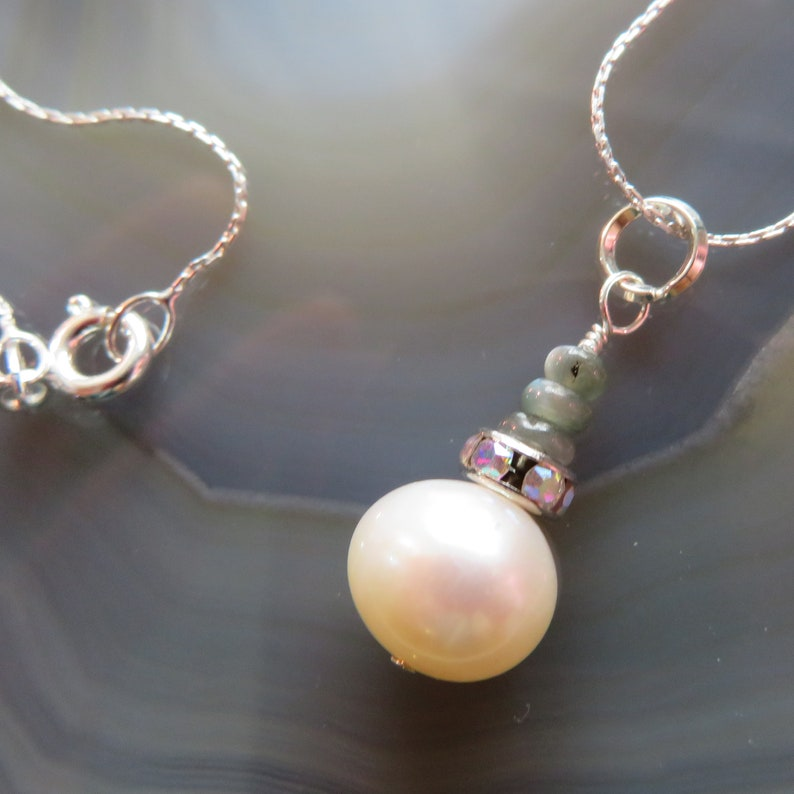 Freshwater Pearl and Alexandrite Pendant in Sterling Silver  image 0