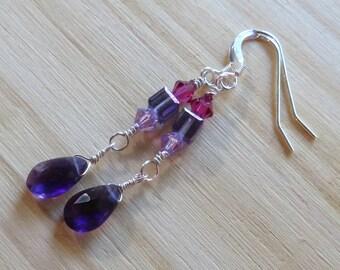 Dark Amethyst and Swarovski Crystal Earrings in Sterling Silver