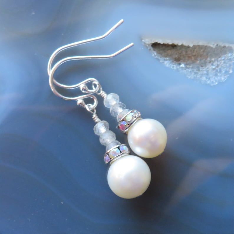 Freshwater Pearl and Labradorite Earrings in Sterling Silver  image 0