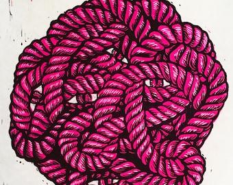 Rope Eyes - handmade linocut relief print