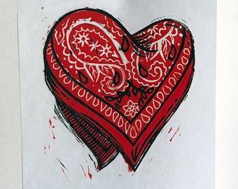 Hanky heart linocut print – red, blue, black