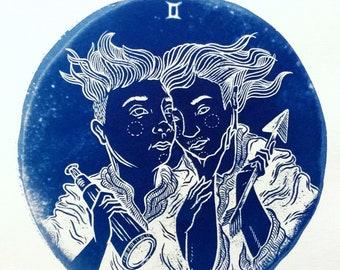 GEMINI cyanotype print – original zodiac illustration
