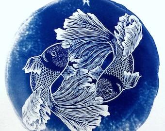 PISCES cyanotype print – original zodiac illustration