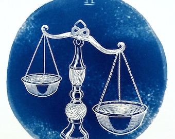 LIBRA cyanotype print – original zodiac illustration