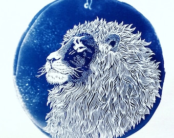 LEO cyanotype print – original zodiac illustration