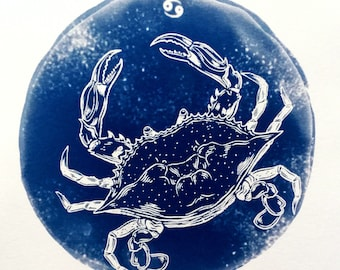 CANCER cyanotype print – original zodiac illustration