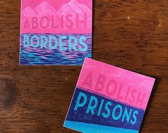abolish prisons / borders - vinyl stickers