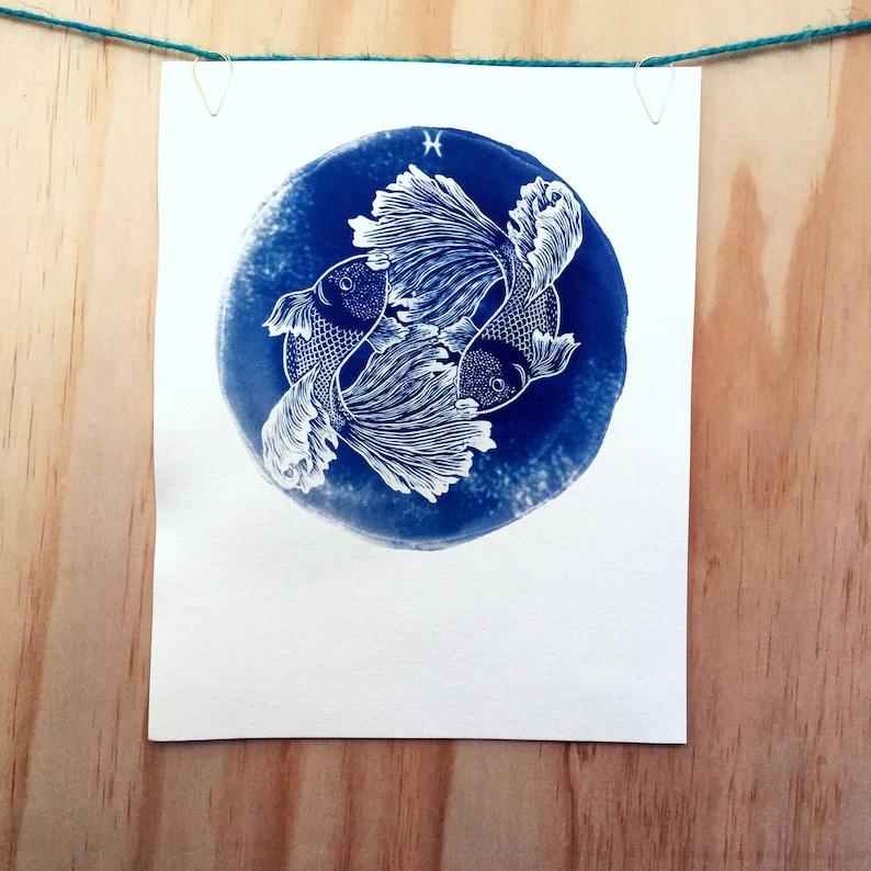 PISCES cyanotype print  original zodiac illustration image 0
