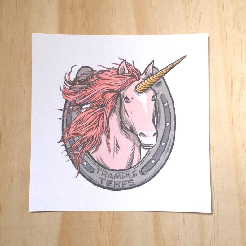 Trample TERFS lucky unicorn  art print image 0