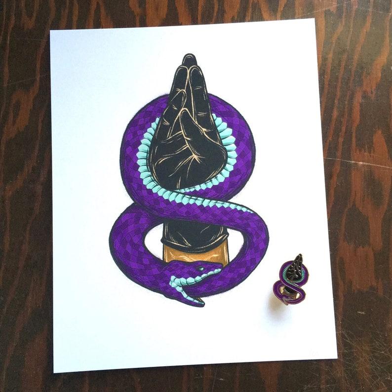 Ouroboros Fist set  enamel pin and print image 0