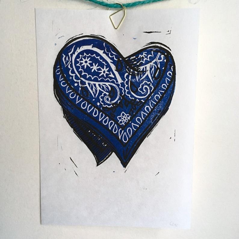 Hanky heart linocut print  red blue black image 0