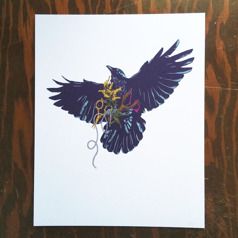 The Gatherer  art print  raven image 0