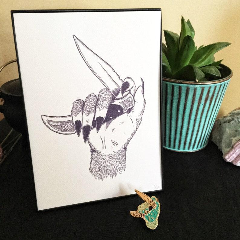 Femme Beast set  enamel pin and art print image 0