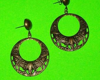 Vintage 1970s Tribal Boho Patterned Drop Dangle Hoop Earrings