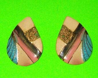Vintage 1980s WILD Ceramic and Enamel Pink Blue Gold Teardrop Earrings