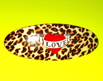 LAST ONE Leopard Print and Red Tattoo Heart Banner Rockabilly Pinup Jewelry Hair Clip