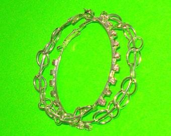 Vintage 1980s Large Silver Chain and Pink Rhinestone Bling Hoop Earrings