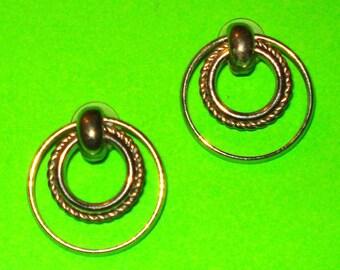 Vintage 1970s Silver Double Hoop Drop Dangle Earrings