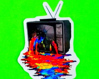 Television Trauma TV Tragedy Shotgun Rainbow Punk Punx Busted Technology Throwback Retro Rabbit Ears Antenna Set Glossy Vinyl Sticker