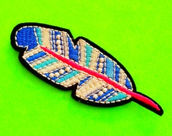 Ocean Feather Blue Mix Bird Plumage Tribal Beauty Fully Embroidered Iron or Sew On Patch