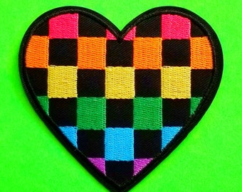 Rainbow Heart Checkerboard Ska Love Punk Pride Parade All Inclusive Goodness Fully Embroidered Iron or Sew On Patch