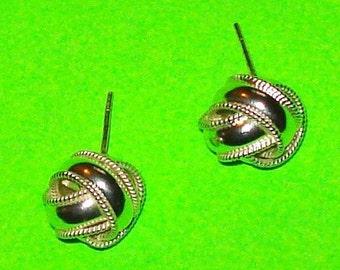 Vintage 1950s Silver Ribbon Knot Stud Earrings