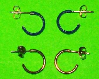 SALE - Vintage 1980s Silver and Blue Hoop Earrings - TWO PAIR