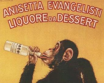 POSTER MONKEY DRINKING ANISETTA EVANGELISTI DESSERT LIQUOR VINTAGE REPRO FREE SH