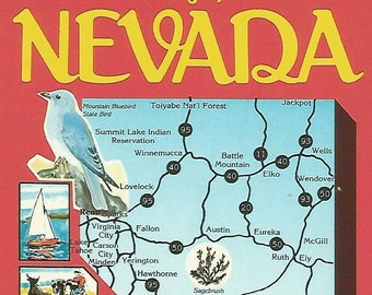 Nevada Vintage 1970s Postcard Greetings from Retro Kitsch Illustrated Map Card Casinos Bluebird Snail Mail USA Postally Unused - More Styles