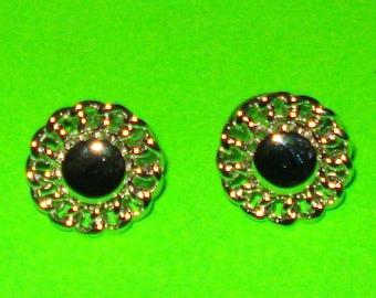 Vintage 1950s Monet Brand Silver Knot Rosette Earrings