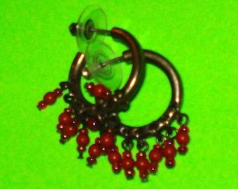 Vintage 1970s Antiqued Silver and Red Beaded Hoop Earrings
