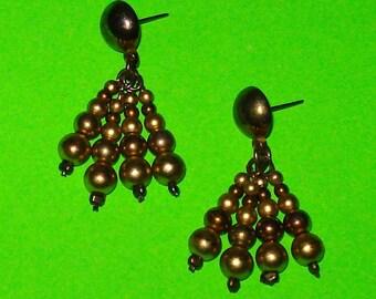 Vintage 1970s Gold Beaded Fringe Dangle Drop Earrings