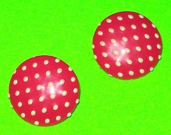 Vintage 1950s Cherry Pink Polka Dot Rockabella Round Circle Button Earrings