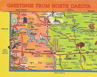 North Dakota Vintage 1990s Postcard Greetings Illustrated Map Fun Fishing Bismarck Jamestown Devils Lake USA Photochrome Postally Unused