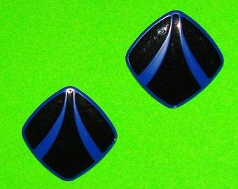 Vintage 1960s Blue and Black Square Enamel Earrings