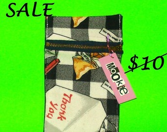 LAST ONE! Good Fortune - Chinese Takeout Fortune Cookie Printed Zippered Clutch Cosmetic or Pencil Purse - CLEARANCE