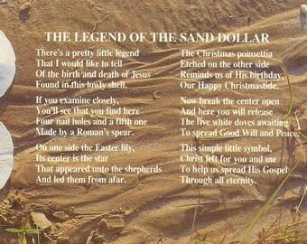 Vintage 1960s Postcard Legend of the Sand Dollar Ocean Animal Folklore Story Scenic Beach Shell Photochrome Card Postally Unused