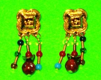 Vintage 1960s Gold Beaded Aztec Drop Dangle Earrings
