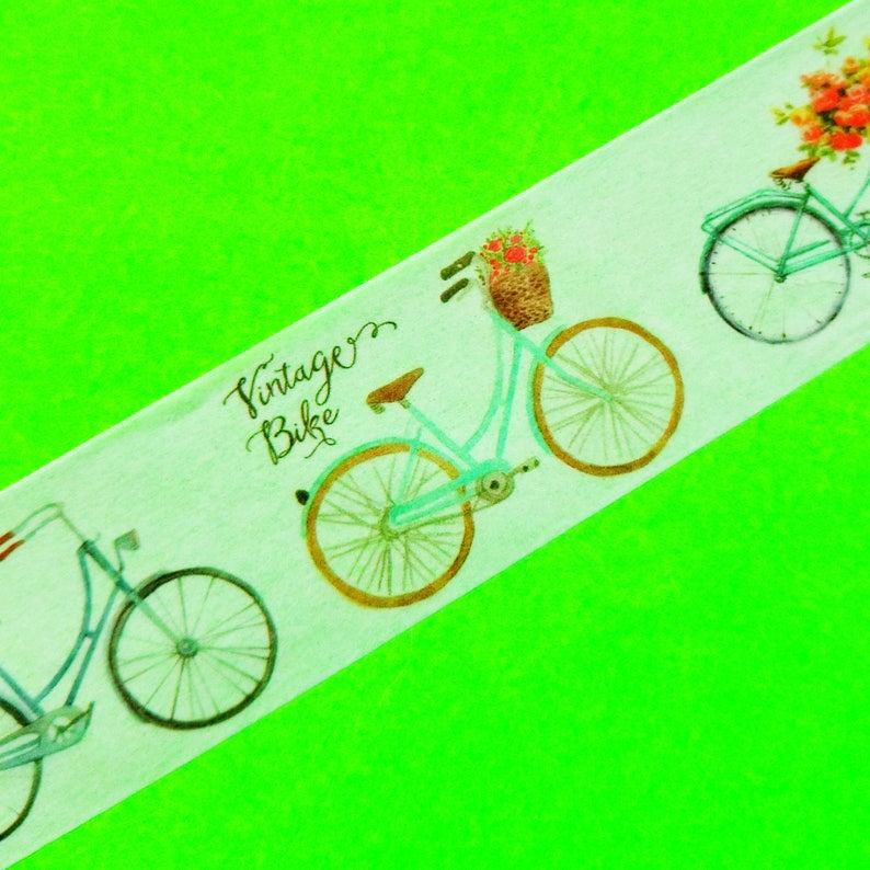 Kyoto Junk Shop Brand Mix Extra Wide 30mm Masking Paper Washi Tape Color Bicycles Lilacs Flowers Food Sweets Books Cats Kittens Stickers 3cm