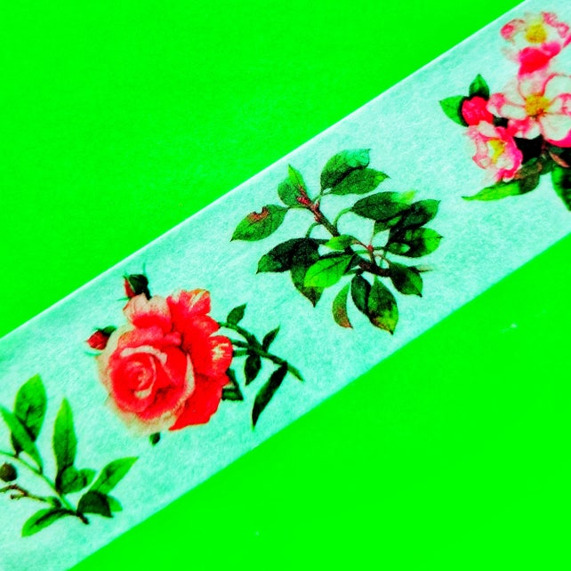 Roses Mix Mikimood Brand Extra Wide 30mm Masking Paper Washi Tape Color Flowers Floral Botanical Beauty Pink Purple Blooms Stickers 3cm