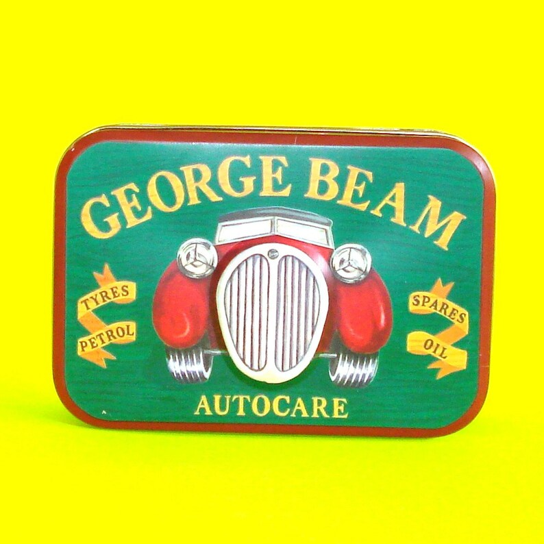 George Beam Autocare Vintage Car Kit Tin Curio Stash Box