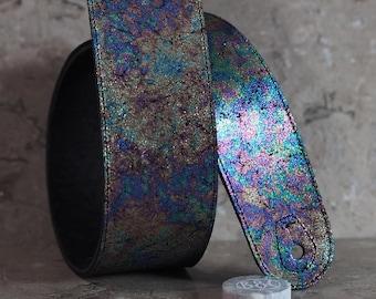 Oil Slick Rainbow Glitz on Black Leather Guitar Strap