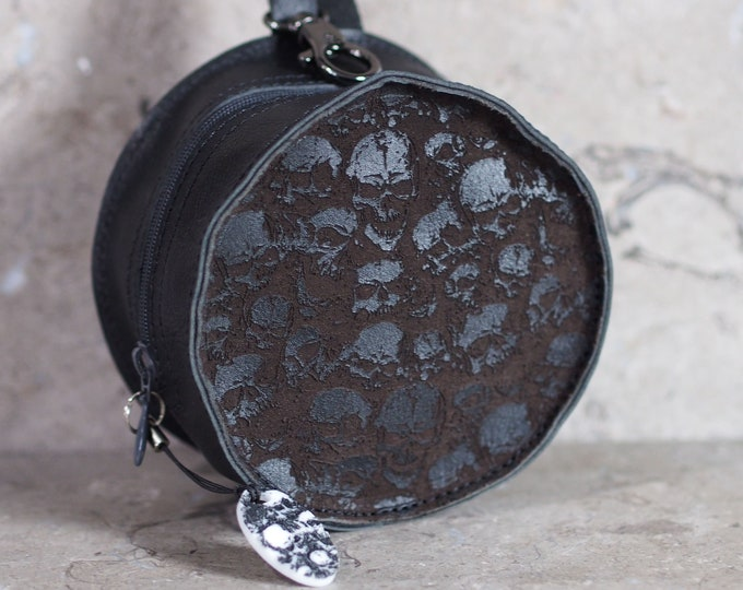 Featured listing image: Screaming Skulls Small Round Laser Etched Leather Pouch