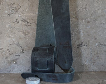 Distressed Steel Gray Bison Leather Guitar Strap