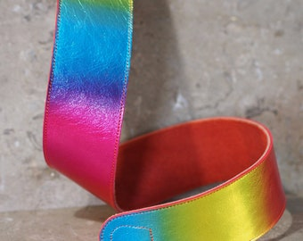 Pride Rainbow Band Leather Guitar Strap