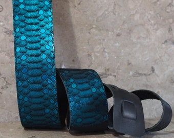Teal Scales Leather Guitar Strap