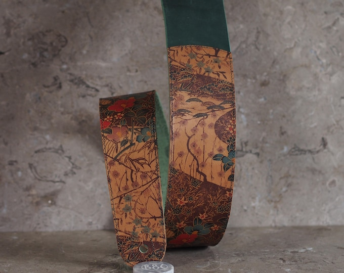Featured listing image: Asian Floral Print on Honey over Green Leather Guitar Strap