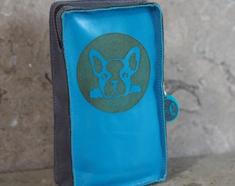 Blue and Gray Leather Cell Phone Belt Pouch with Laser Etched French Bulldog