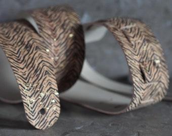 Tiger Stripe Print over Real Cork on Genuine Leather Guitar Strap
