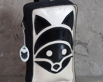 Tanuki Leather Cell Phone Belt Pouch with appliqued Raccoon
